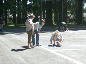 Friends of Pier Park volunteers turned out to re-stripe the tennis courts at Pier Park in 2011.