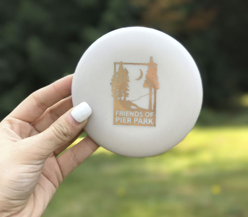 Friends of Pier Park mini disc in white