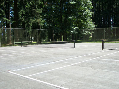 The newly re-striped tennis courts at Pier Park.