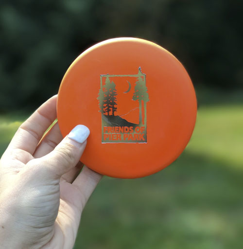 Friends of Pier Park mini disc in orange